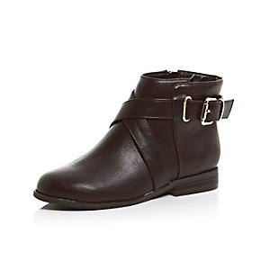 Girls brown strappy ankle boots