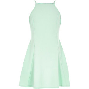 Girls light turquoise fit and flare dress
