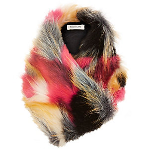 Girls multi coloured faux fur tippet