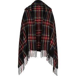 Girls black tartan hooded scarf