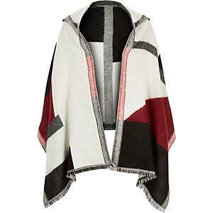 Girls red hooded cape scarf