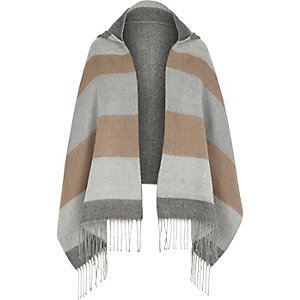 Girls cream stripe hooded scarf