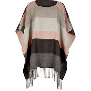 Girls grey stripe colour block poncho