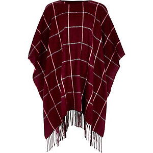 Girls red check tassel poncho