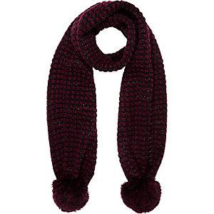 Girls red pom pom scarf