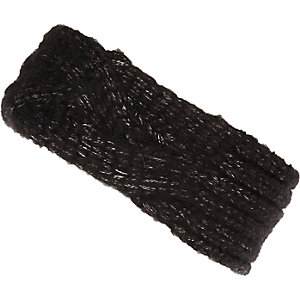 Girls black knitted headband