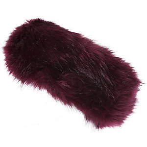 Girls red faux fur headband