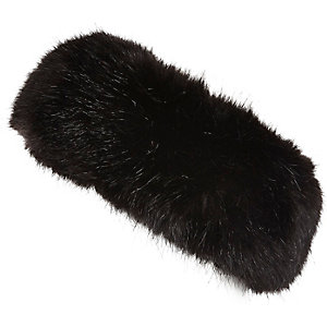 Girls black faux fur headband