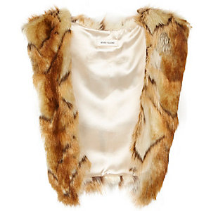 Girls brown faux-fur tabard