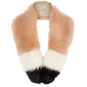 Girls peach faux fur stripe tippet