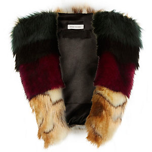 Girls multi-coloured faux-fur tabard
