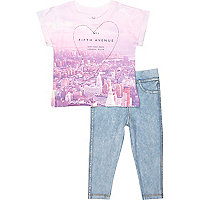 Mini girls pink NY t-shirt leggings outfit