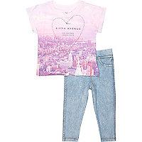 Mini girls pink NY t-shirt leggings outfit