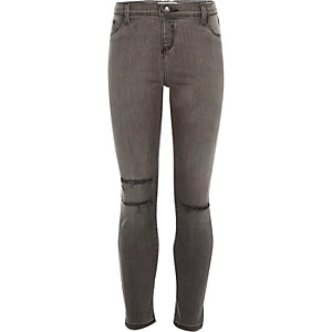 Girls grey ripped knee Molly jeggings