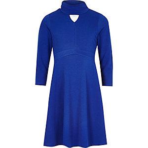 Girls blue high neck skater dress
