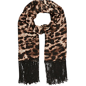 Girls brown animal print lightweight scarf