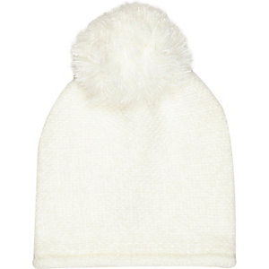 Girls cream oversized pom pom beanie