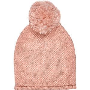 Girls pink oversized pom pom beanie