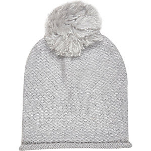 Girls grey oversized pom pom beanie