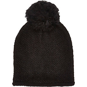 Girls black oversized pom pom beanie