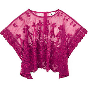 Mini girls purple lace top