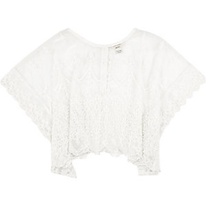Mini girls cream lace top