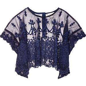 Mini girls navy lace top