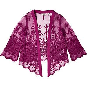 Mini girls purple lace kimono