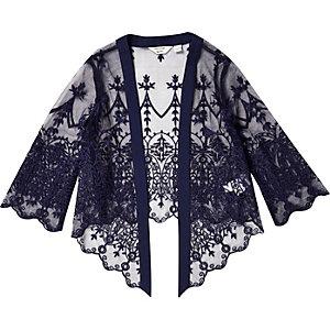 Mini girls navy lace kimono