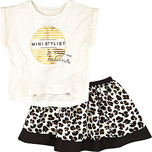 Mini girls leopard print t-shirt  skirt oufit