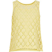 Girls yellow lace open back top