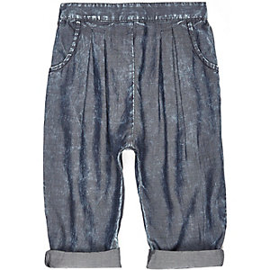 Mini girls dark blue woven pants