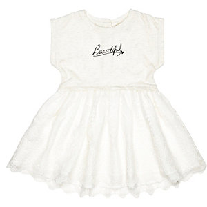 Mini girls cream lace jersey dress