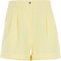 Girls light yellow tailored shorts