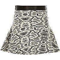 Girls monochrome print flippy skirt