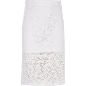 Girls white lace pencil skirt