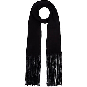 Girls black tasselled scarf