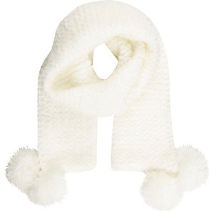 Girls cream cosy knitted pom pom scarf