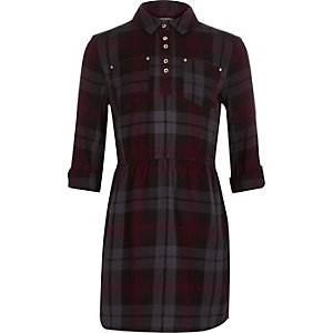 Girls navy check shirt dress