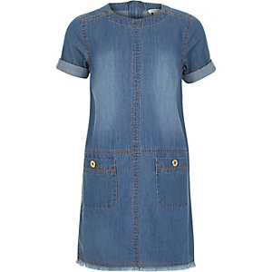 Girls mid wash denim shift dress