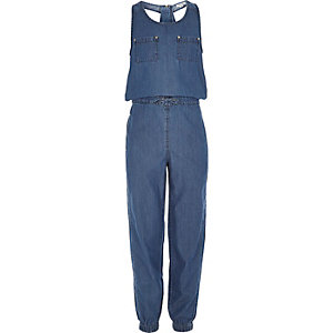 Girls utility denim jumpsuit