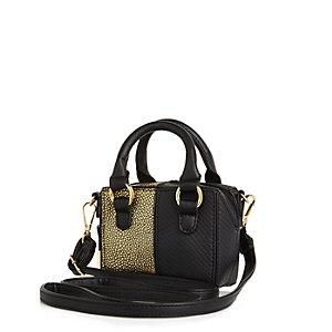 Girls black mini box handbag