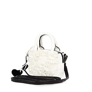 Girls white faux fur boxy handbag