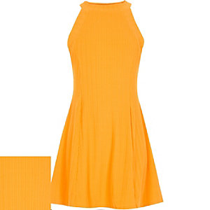 Girls orange ribbed skater dress