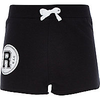 Girls black R print runner shorts