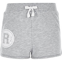 Girls grey R print runner shorts