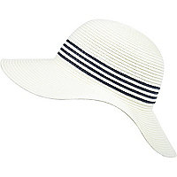 Girls white striped floppy sun hat