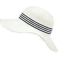 Girls white striped floppy sun hat