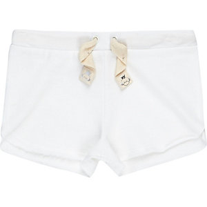 Mini girls white runner shorts