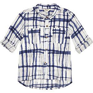 Mini girls blue check shirt